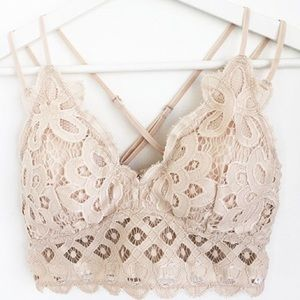 NEW Anemone Nude Neutral Adjustable Lace Bralette